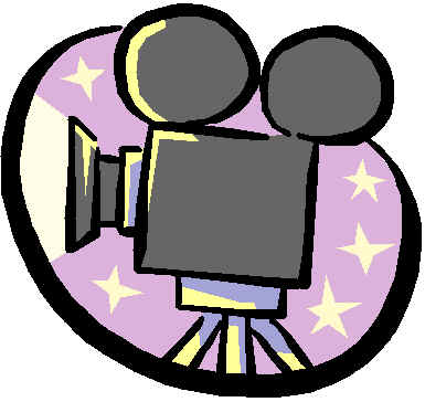 Movie cartoon. Camera and film clipart