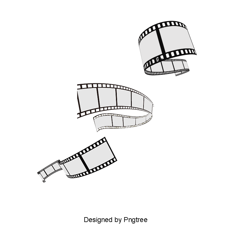 Movie film png. Stereoscopic rolled poster vector