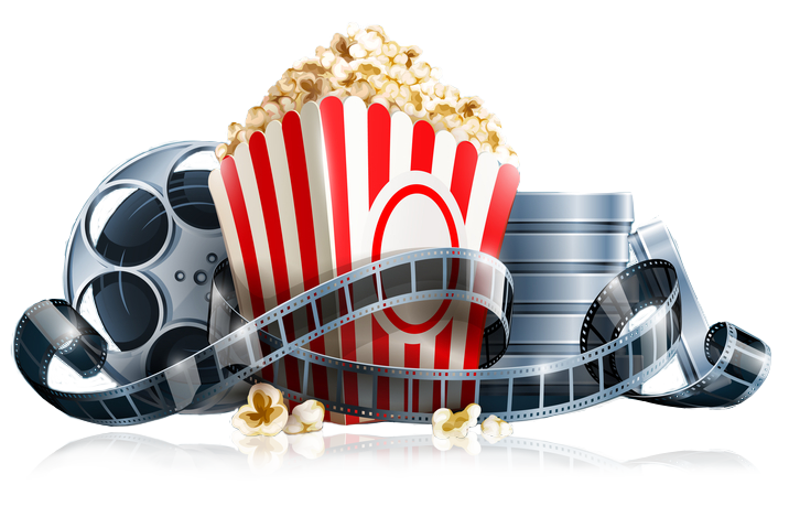 Movie theater png. Reels and popcorn gtel