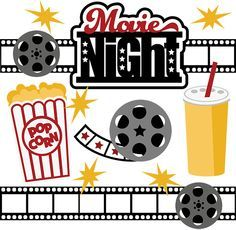Movies clipart kid. Movie night svg collection