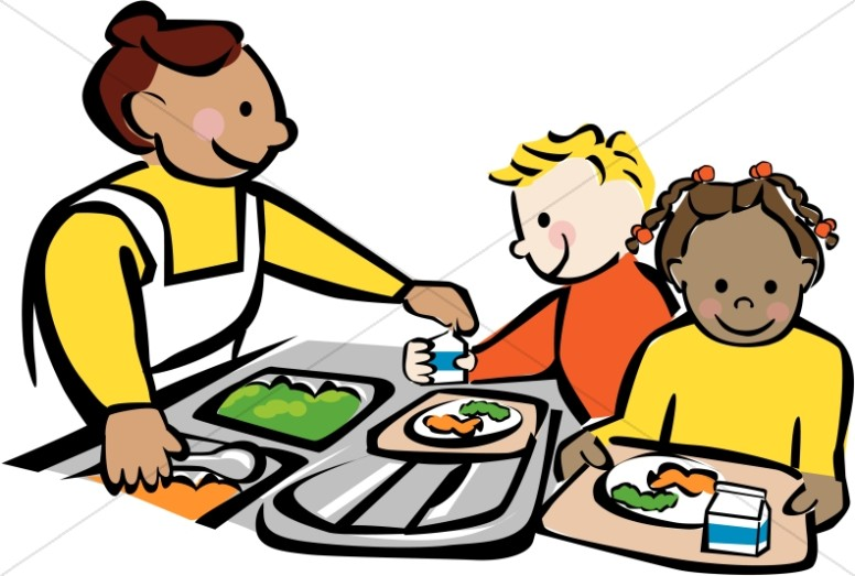 Movies clipart lunch. Children getting at cafeteria