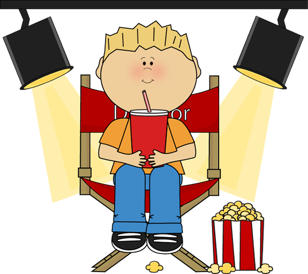 Movies clipart movie director. Boy in directors chair