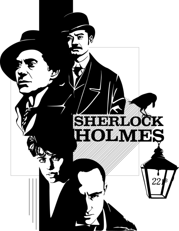Movies vector art. Sherlock holmes by mad