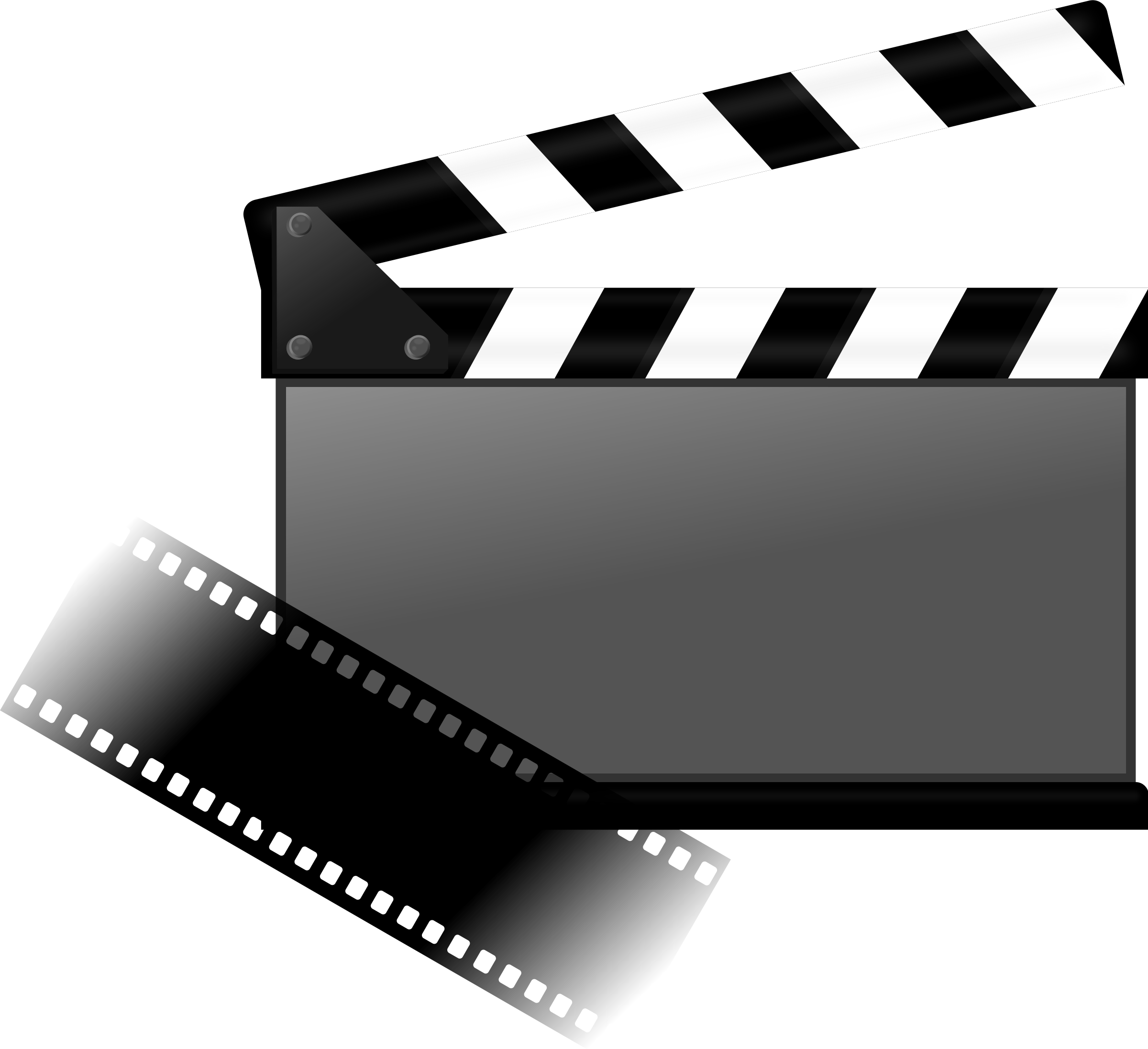 Movies vector clap. Hybrid film and its