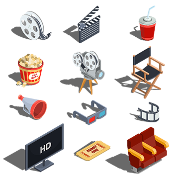Vector offices isometric. Cinema ticket png vectors