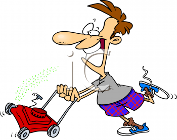 Mowing clipart. Man lawn