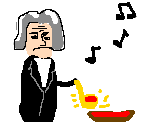 Plays the golden ladle. Mozart drawing graphic free stock
