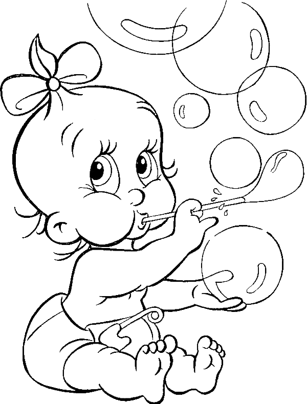 Mozart drawing baby coloring page. Cute babe blowing bubble