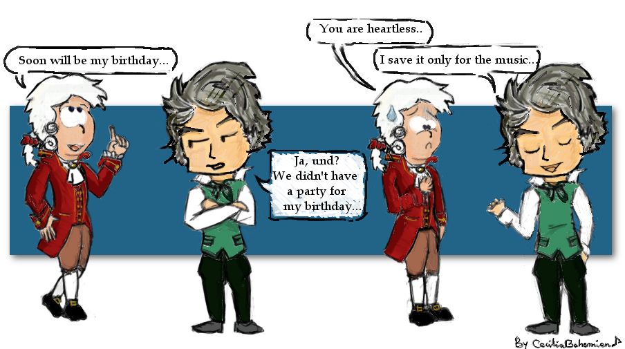 Mozart drawing wolfie. Wants a party by