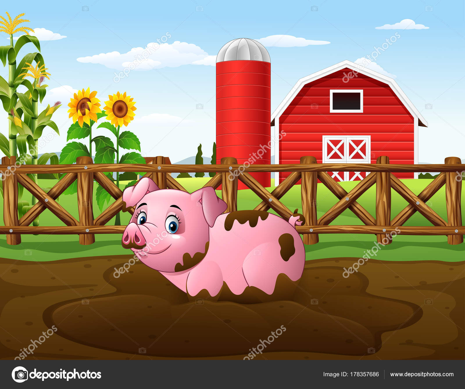 Mud clipart farm pig. Cartoon playing puddle stock