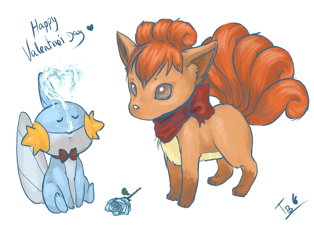 Mudkip drawing valentine. And vulpix by tachi