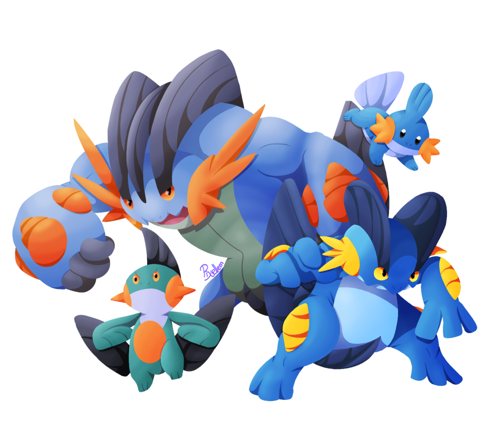 Mudkip drawing swampert costume. Evolution line by pixellem