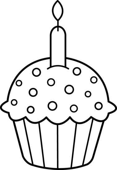 Muffin clipart 3 cupcake. Free line drawing download