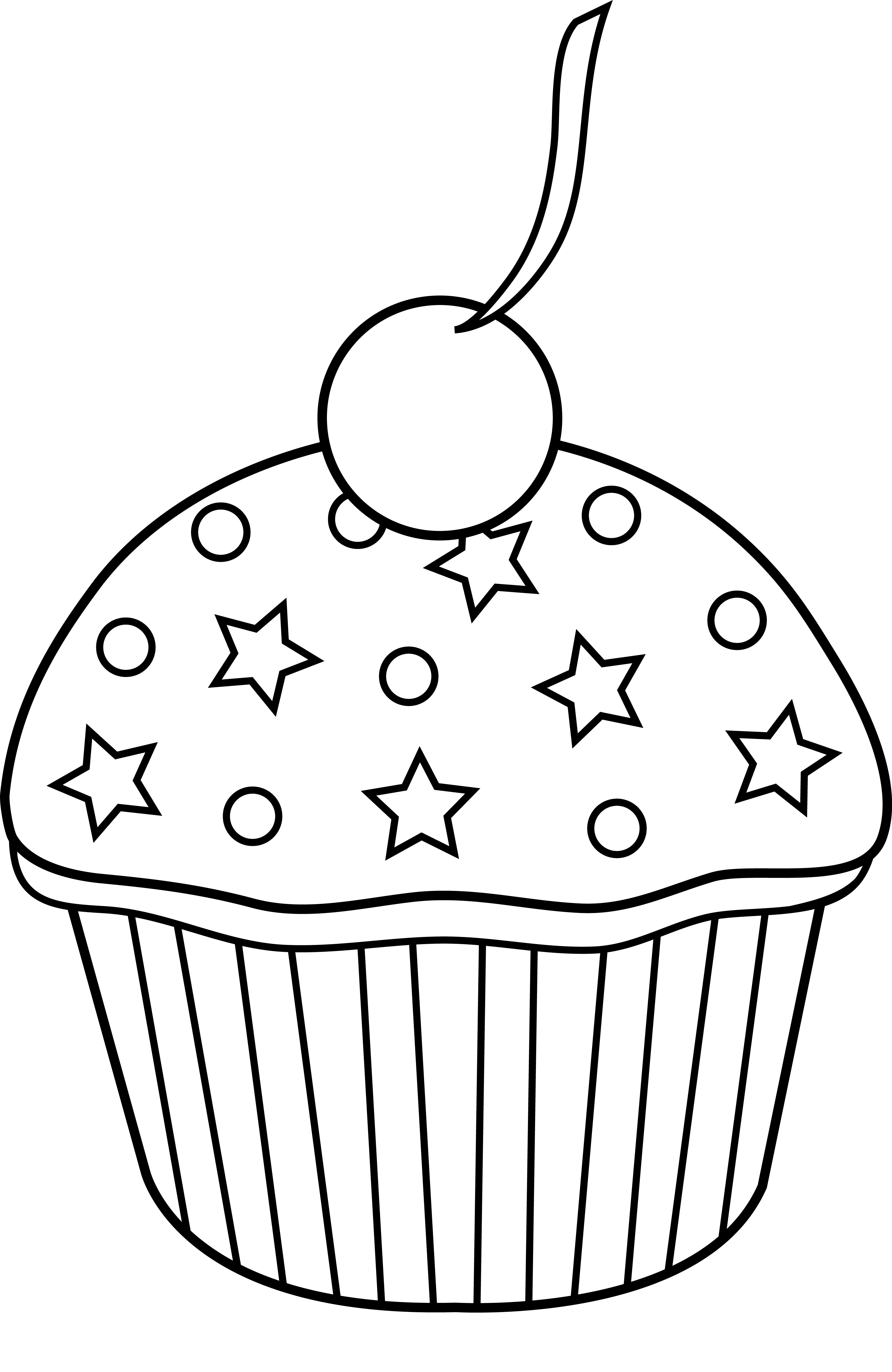 Muffin clipart colored cupcake. Cute outline to color