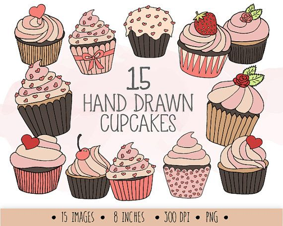 Muffin clipart colored cupcake. Clip art hand drawn