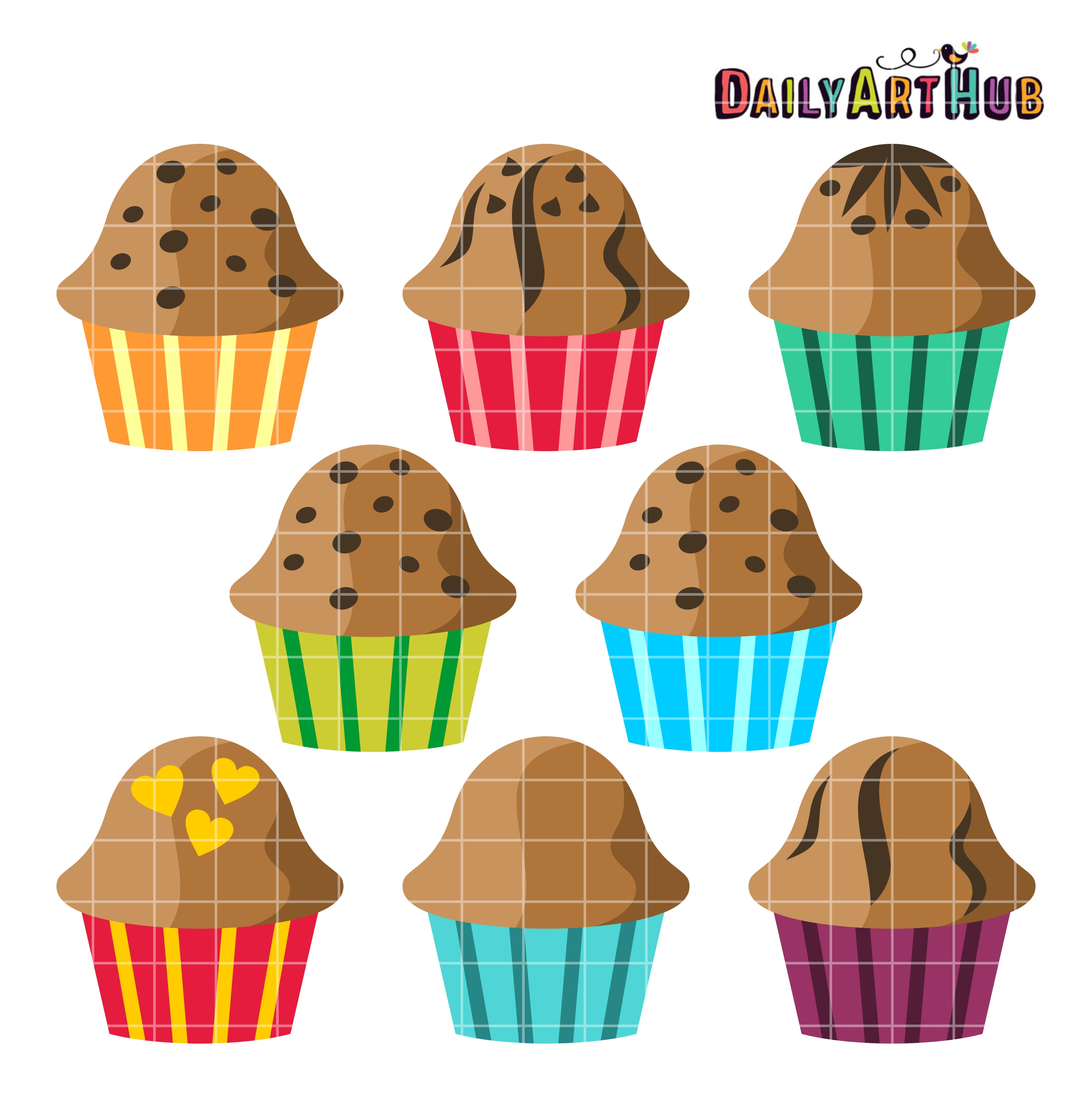 Muffins clipart. Clip art set daily