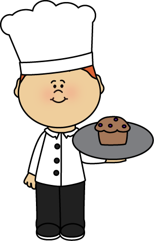 Cook clipart. Chef holding a muffin