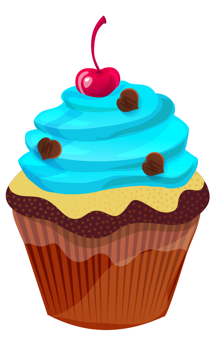 Vector cupcakes cherry top. Cute cupcake clip art