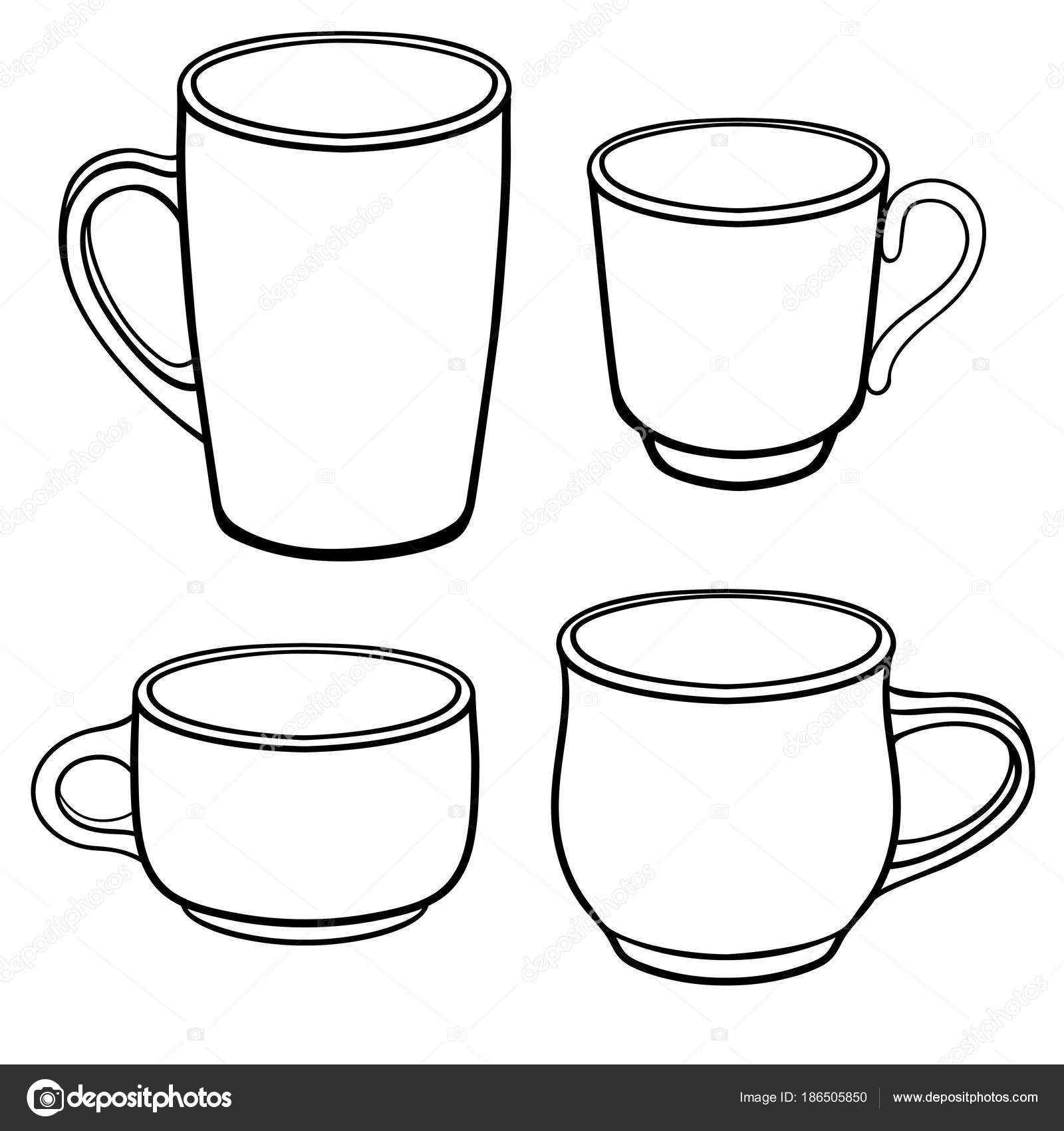Mugs clipart line drawing. Cups coffee different shapes