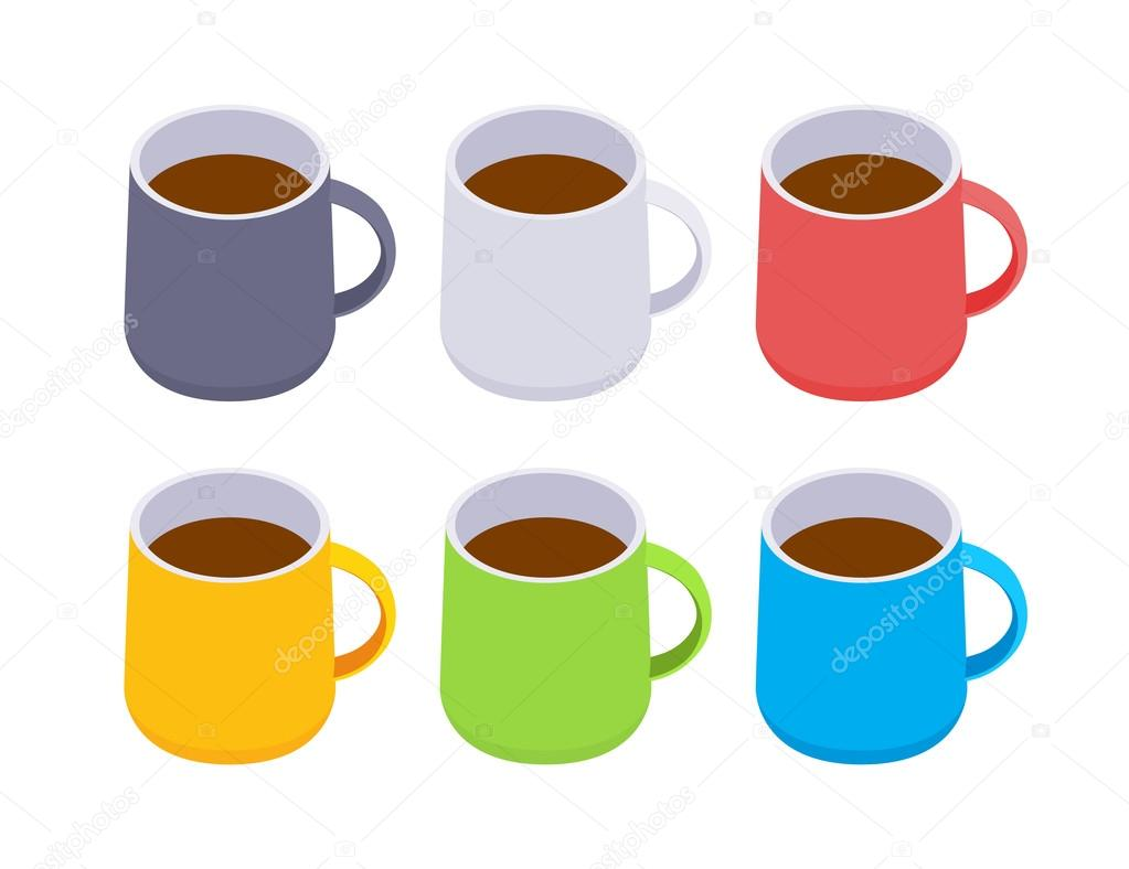 Mugs clipart one object. Isometric colored coffee stock