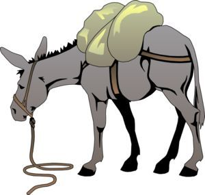 Mule clipart nativity donkey. Cartoon with a load