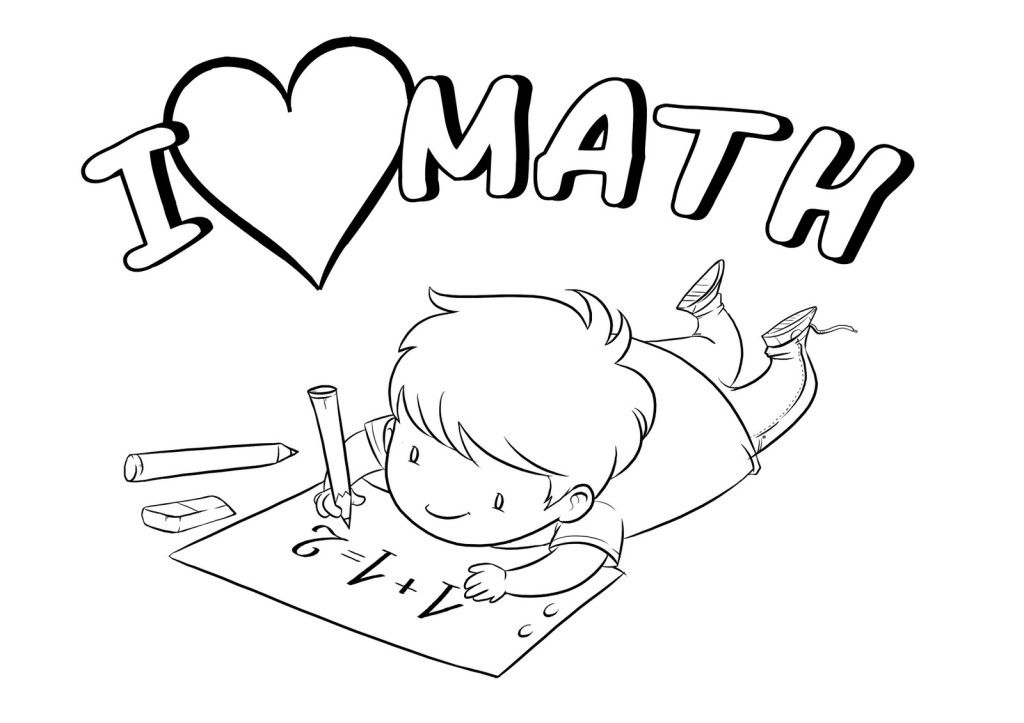 Multiplication clipart black and white. I love math coloring