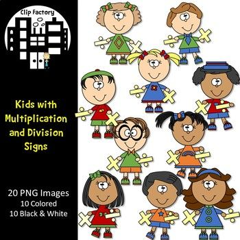 Multiplication clipart math group. Kids with and division