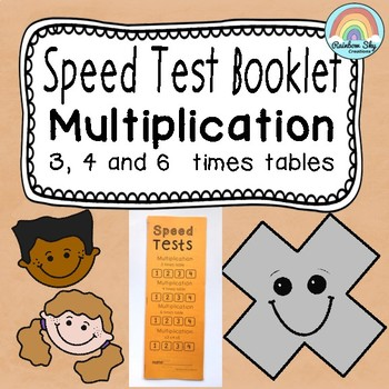 Multiplication clipart test booklet. Facts speed by rainbow
