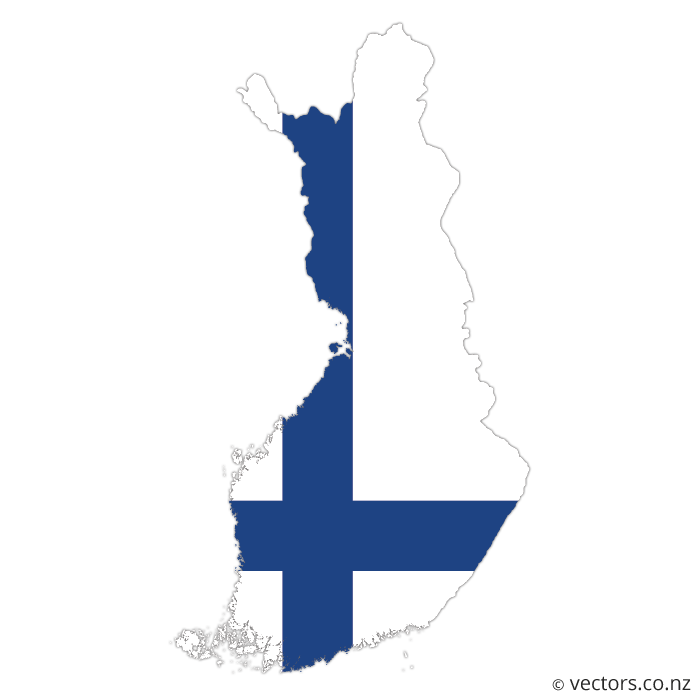 Mundo vector. Flag map of finland