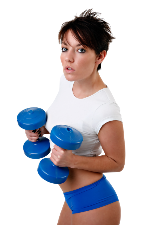 Fitness woman png. Young exercises with dumbbell