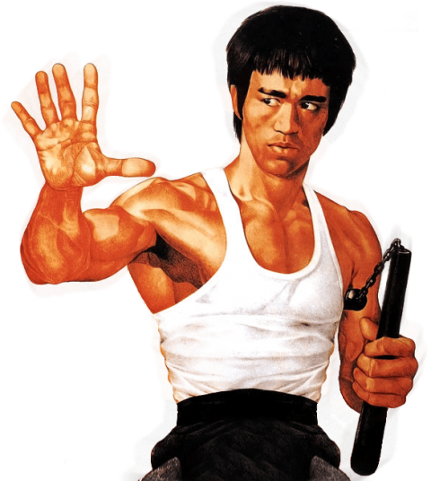 Muscle body gun png. Bruce lee free vector