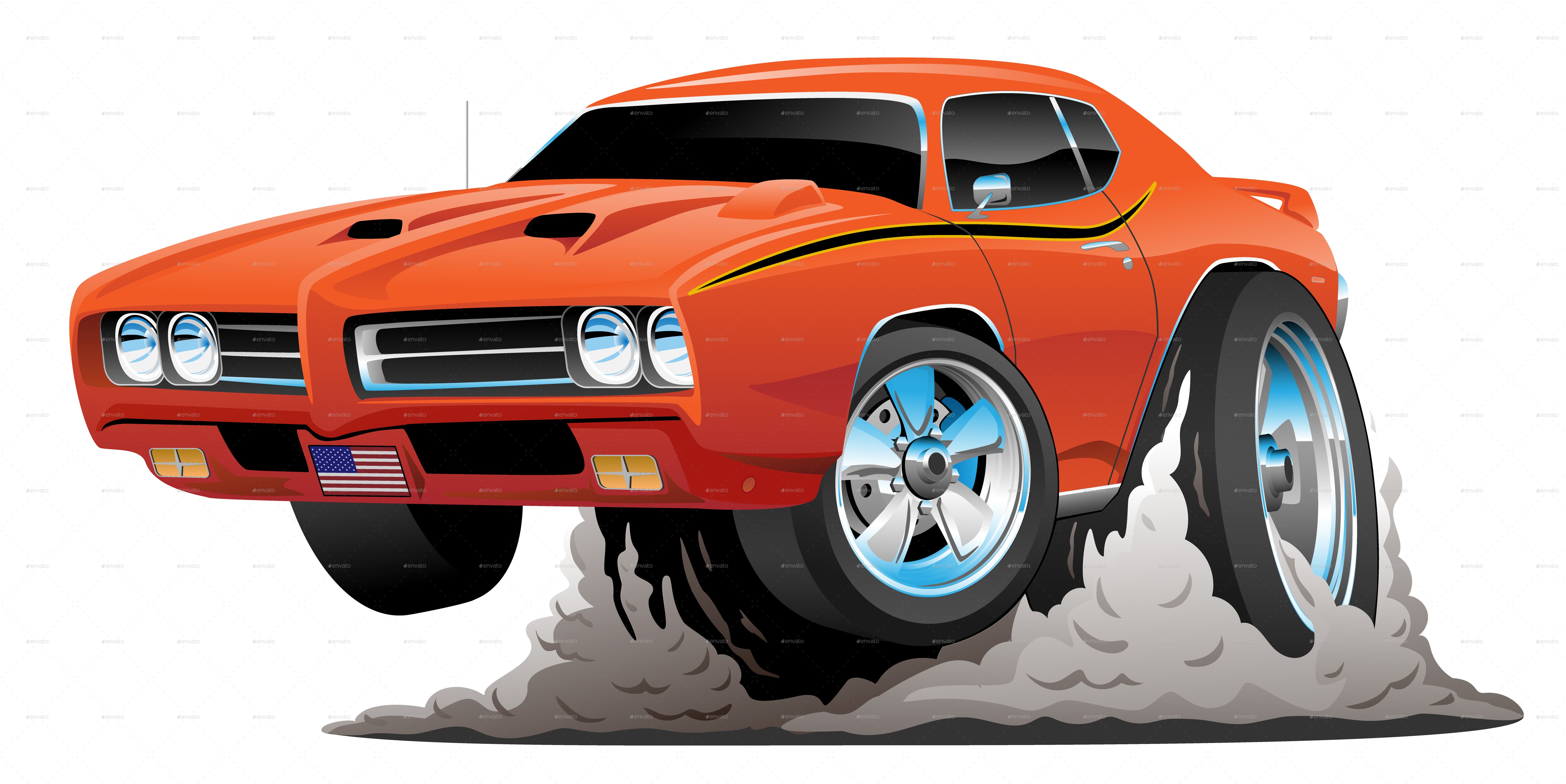 Muscle car png. Classic american cartoon by