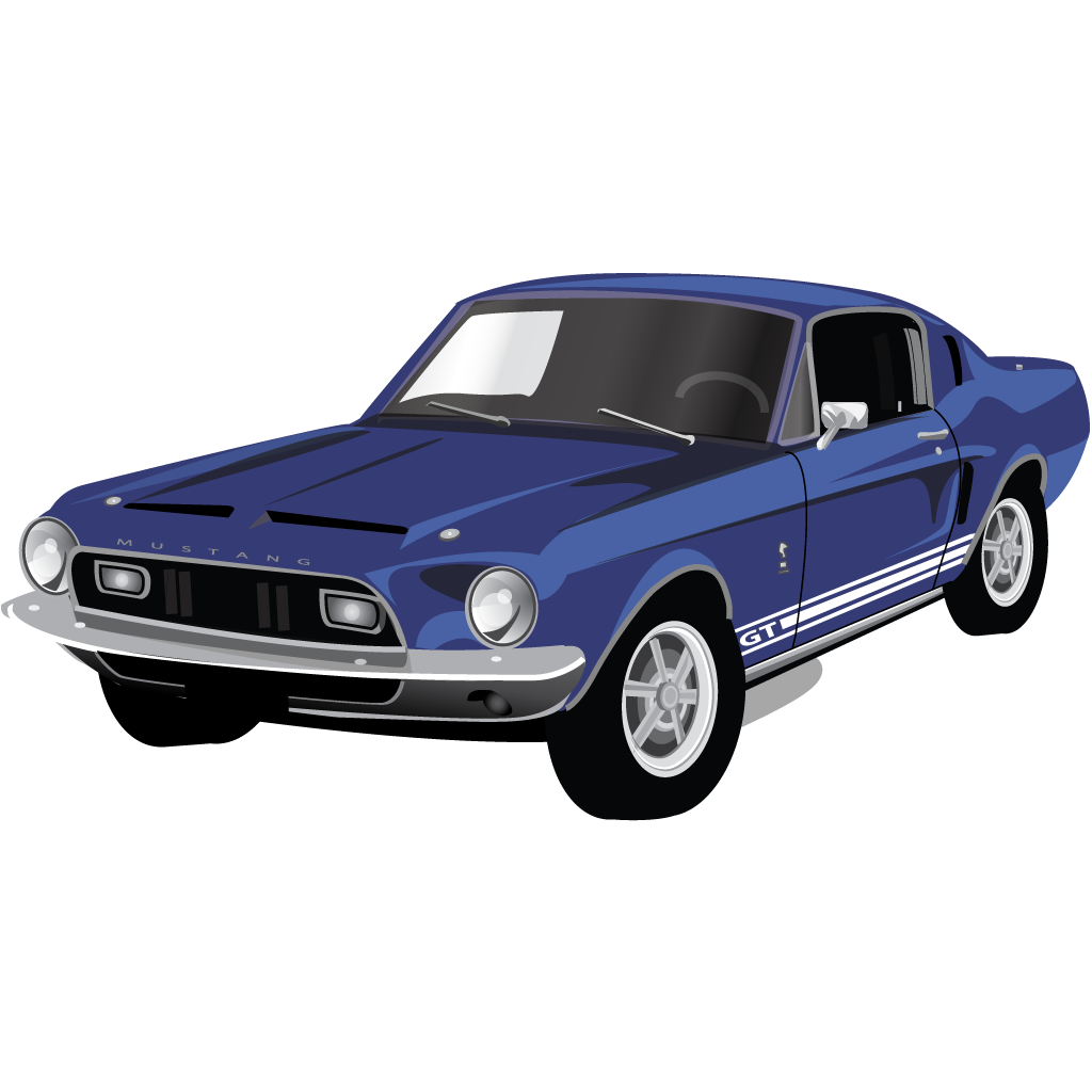 Drawing mustang muscle car. Gt icon classic american