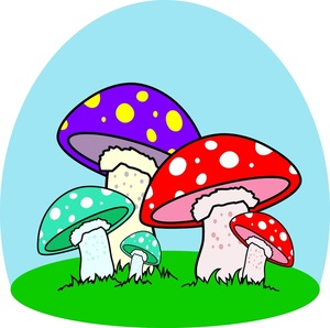 Mushrooms clipart animated. Image colorful cartoon in