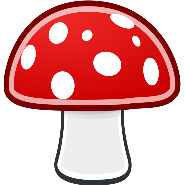 Drawing detail mushroom. Cartoon amanita muscaria fungus