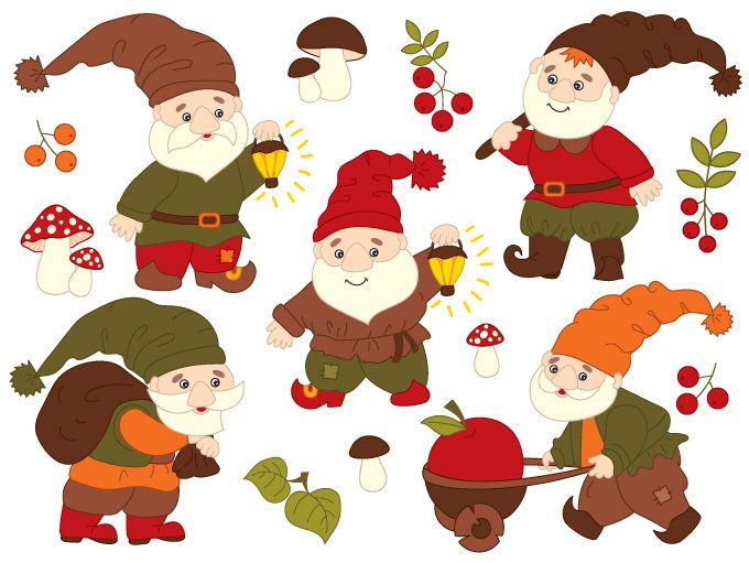 Mushrooms clipart woodland elf. Gnome digital vector mushroom