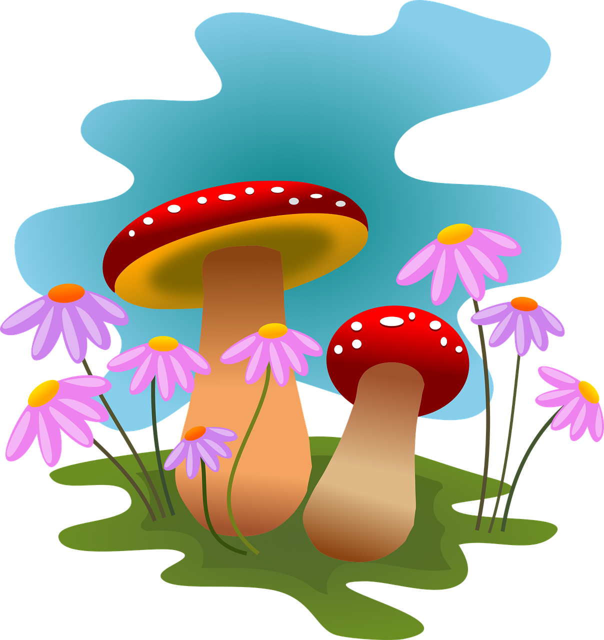Autumn fungi forest flowers. Mushrooms vector art picture transparent library