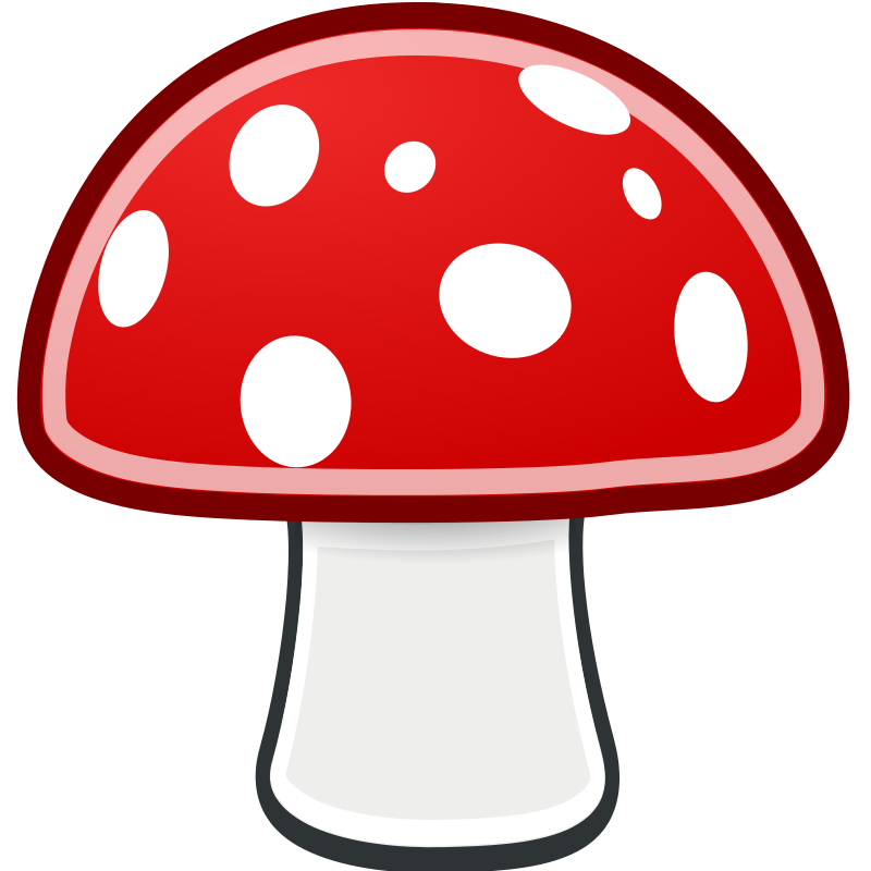 Mushrooms vector comic. Collection of free fungian