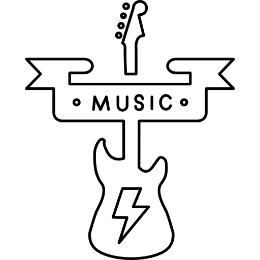 Music banner png. And a guitar silhouette