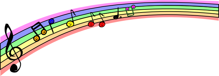 music note clipart rainbow