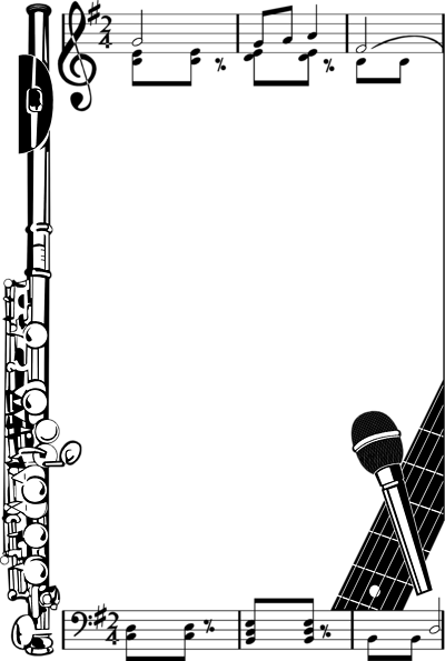 Music clipart banner. Free page border download