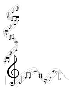 Music clipart banner. Musical notes portrait blank