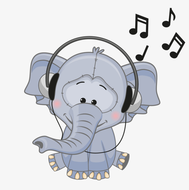 Music clipart elephant. Vector cartoon baby png