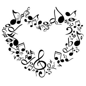 Music clipart heart. Note musical notes of