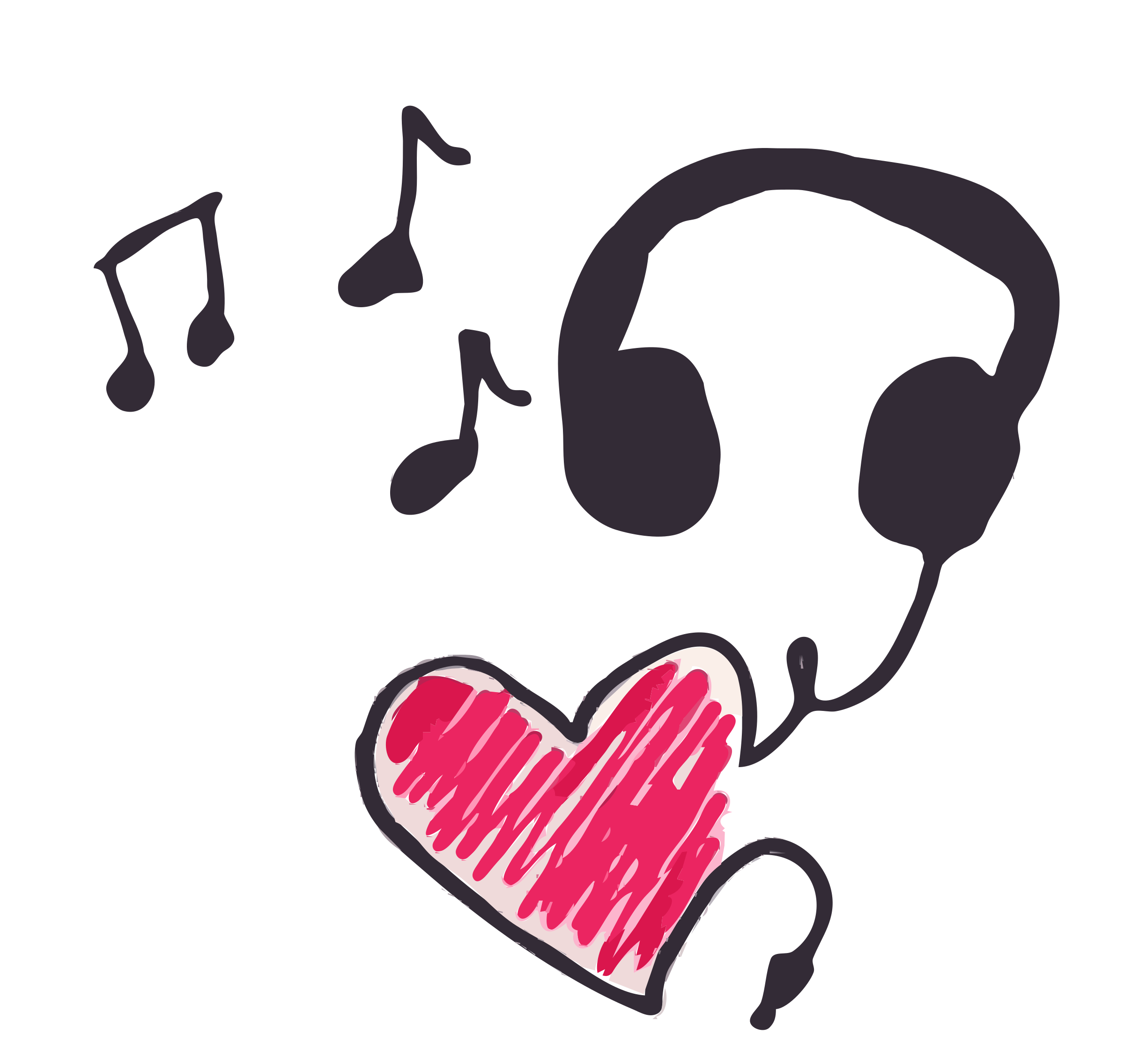 music note clipart heart