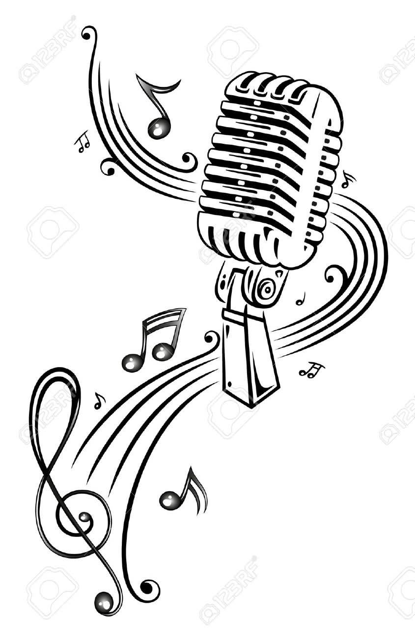 Music clipart microphone. Notes and tattoo design