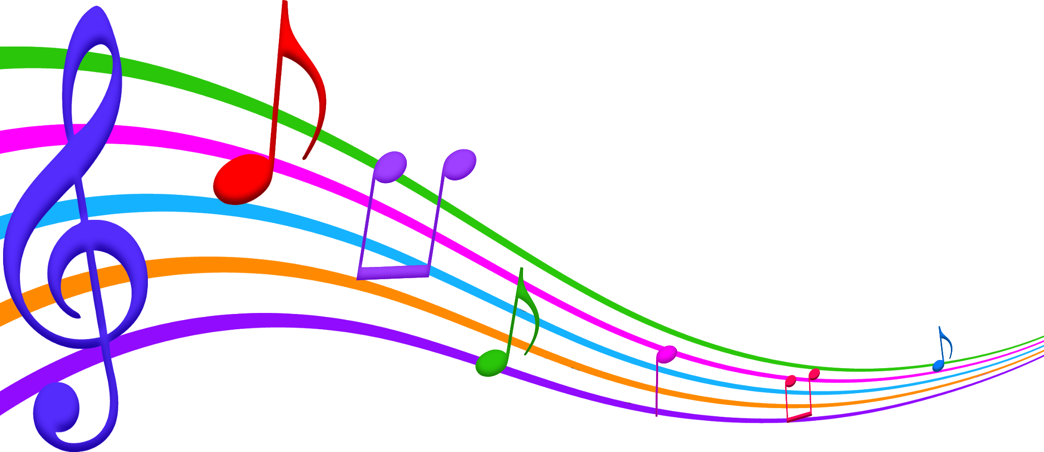 colorful music notes on a staff png