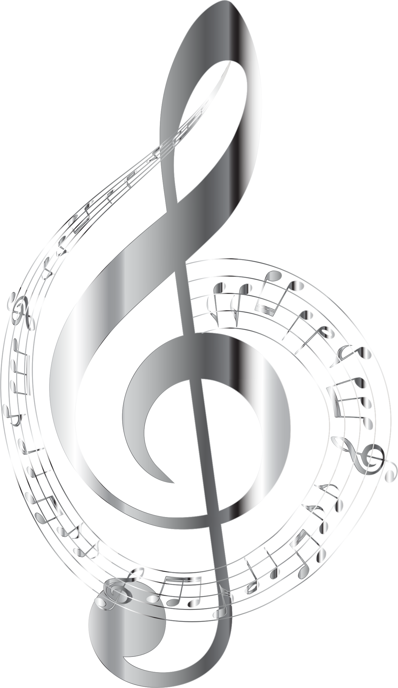 Music note background png. Chrome musical notes typography