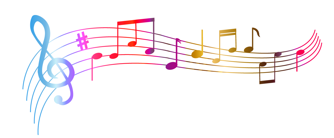 Music border png. Transparent colorful notes clipart