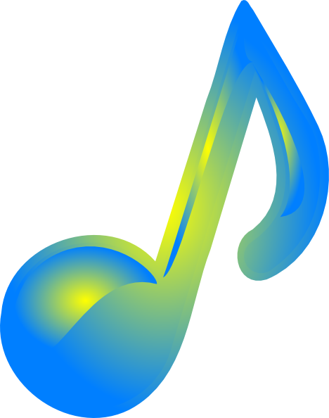 Music note clipart blue. Yellow clip art at